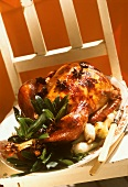 Roast turkey with bay leaves and star anise