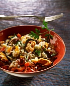 Rice salad with vegetables and mussels