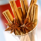 Cinnamon sticks and star anise in a glass
