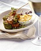Rack of lamb with herb crust and potato gratin