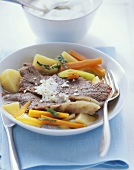 Boiled beef fillet, potatoes, vegetables & horseradish sauce