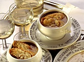 French onion soup with toasted cheese