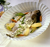 Truites au vin blanc (trout in wine; Champagne, France)
