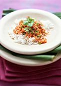 Dal tarka (lentil dish with curry, garlic, tomatoes, rice)