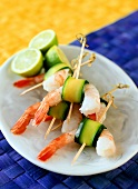 Shrimp kebabs wrapped in courgette