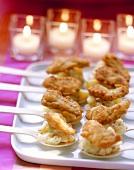 Spoon snacks with potato salad and mini-escalopes