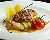Salmon fillet in asparagus with fried goose liver