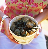 Woman holding wood-chip bowl of fresh mussels