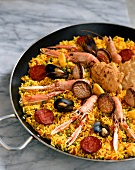 Paella in a typical pan