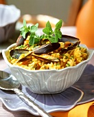 Saffron fusilli with mussels
