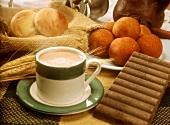 Colombian breakfast (Buñelo, Pandebono and chocolate)