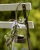 Glass garden light with lavender as decoration