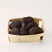 Black Perigord truffles in a wood chip box