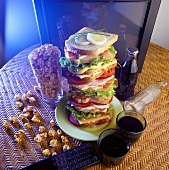 Tower of sandwiches, cola & popcorn
