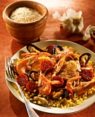 Quick paella with chorizo