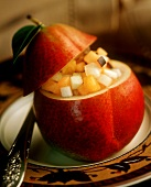 Pear stuffed with fruit salad