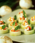 Cucumber canapés with sheep's cheese