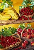 Baskets of bananas, strawberries, cherries & peaches