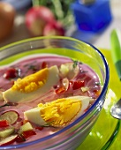 Chlodnik (cold beetroot soup with spring vegetables, Poland)