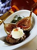 Fresh figs with vanilla ice cream