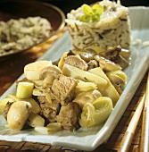 Mushroom and leek stew with beef
