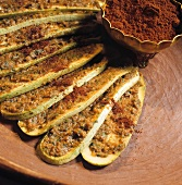 Oven-baked courgette slices with chermoula