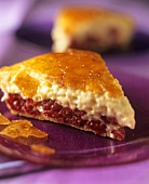 Caramelised puff pastry tart with cherry & vanilla cream filling