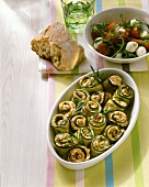 Courgette rolls with mozzarella filling