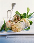 Chinese cabbage rolls with spelt and vegetable filling