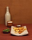 Deep-fried scorzonera with watercress