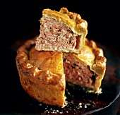 Pork pie, a piece cut