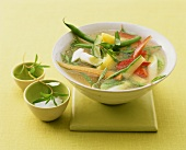 Vegetable soup with summer savory