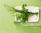 A bunch of herbs in a china bowl