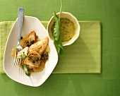 Fried plaice fillet in lemon and caper sauce and aioli