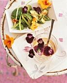 Avocado salad and violet vinegar