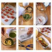 Making savoury quiche with tomatoes and pesto cream