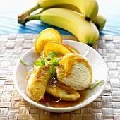 Flambéed bananas on ice cream (Sri Lanka)