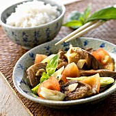 Pan-cooked vegetables with oyster mushrooms & a bowl of rice