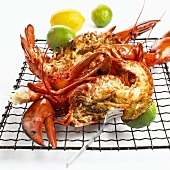 Barbecued lobster on a grill rack