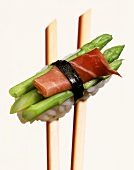 Nigiri-sushi with green asparagus tips