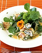 Fried courgette rolls with cottage cheese, nasturtium salad