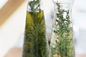 Herbs preserved in a bottle of vinegar