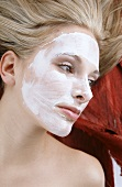 Blond woman with face mask