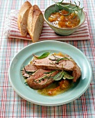 Pork fillet in apricot sauce with apricot jam