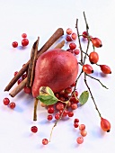 A pear, rose hips, redcurrants and cinnamon