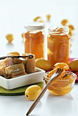 Rhubarb compote and kumquats in whisky