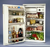 Full fridge with open door