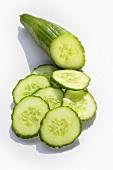 A cucumber, cut up