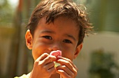 Small Indonesian boy holding sweet in front of his face