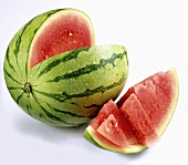 Watermelon with a slice cut out